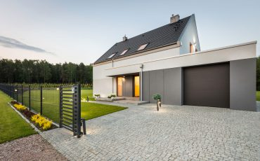 house with fence stock image