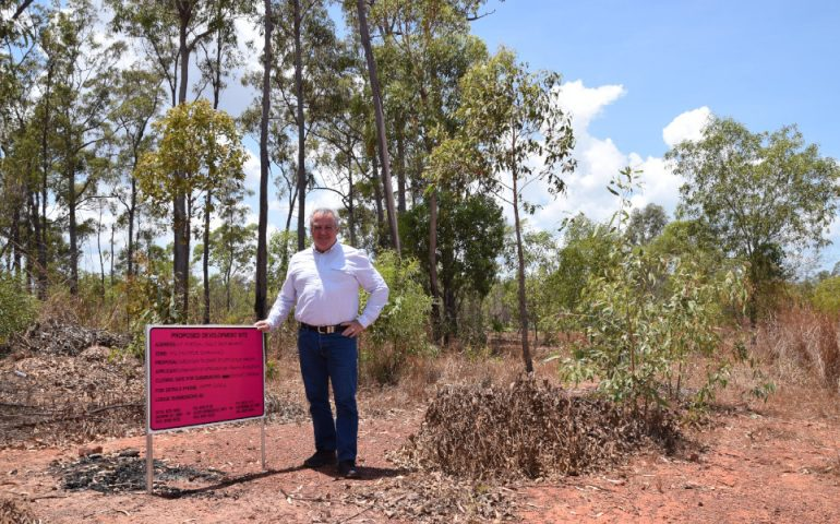 NT Minister for Housing and Community Development at the site of the new Galiwin'ku subdivision. Image courtesy of NT Government