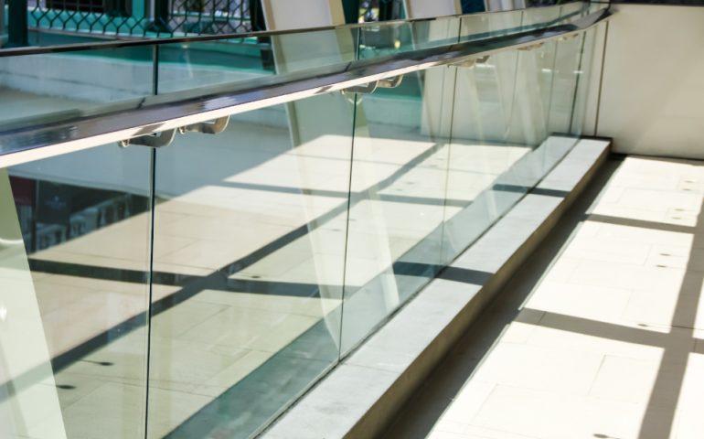 glass ballustrade fence stock image