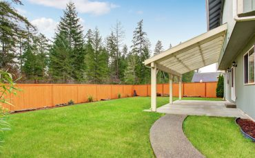 house patio fence stock image