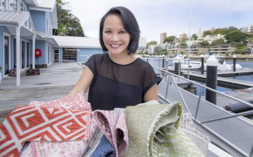 Julie Ockerby With The Bespoke Collection Fabrics Outside Meli HQ