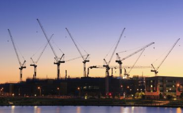 Many cranes at Australian construction site (Sunshine Coast, Kawana Waters, QLD, Australia)