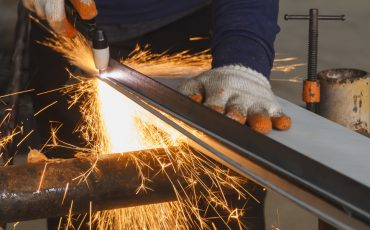 manufacturing steel metal plasma cutter stock image