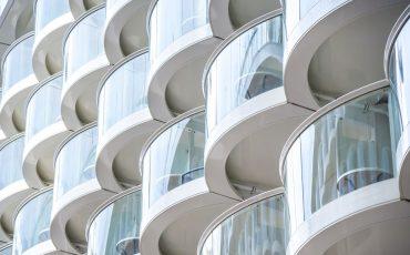 apartment balconies stock image