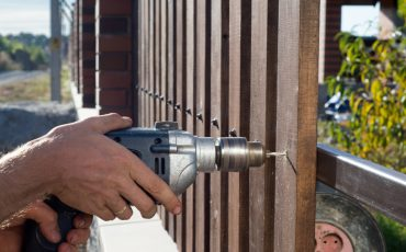 fence installation stock image